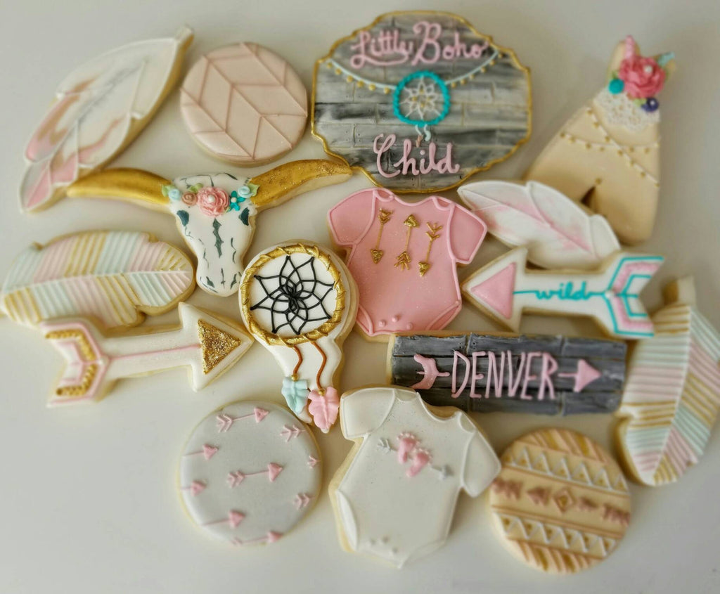 Little Boho Child Baby Shower Cookies TheIcedSugarCookie.com Kessa Cakes Bohemian Cookies Birthday Party Ideas