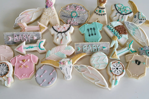 Little Boho Child Baby Shower Sugar Cookies TheIcedSugarCookie.com Kessa Cakes