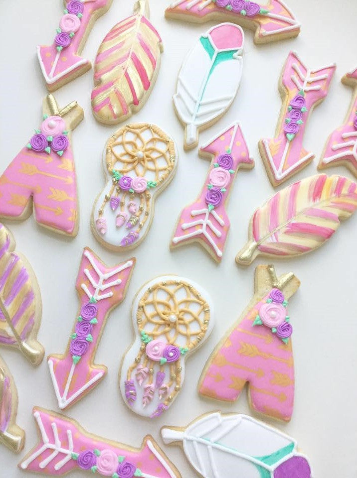 Boho Baby Shower Sugar Cookies-Feathers, Dreamcatchers, Teepees, Arrows TheIcedSugarCookie.com