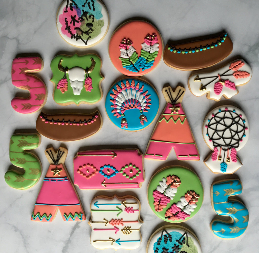 "Boho Chic Dreamcatcher ""Dream Big Little One"" Birthday Party Sugar Cookies TheIcedSugarCookie.com Not By Betty"