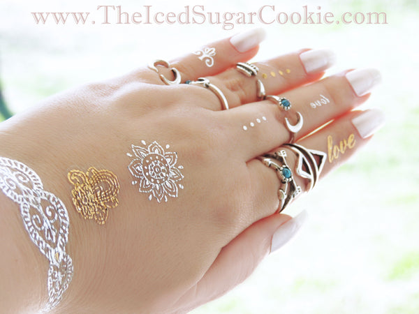 Flash Tattoos Temporary Stickers Silver Gold Boho Bohemian Metallic The Iced Sugar Cookie