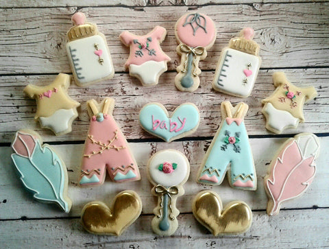 Boho Pink, Blue And Gold Baby Shower Sugar Cookies TheIcedSugarCookie.com Sweet Sugarlicious