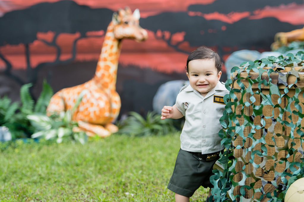Bryan's Safari 9 Month Birthday Party Cakes TheIcedSugarCookie.com