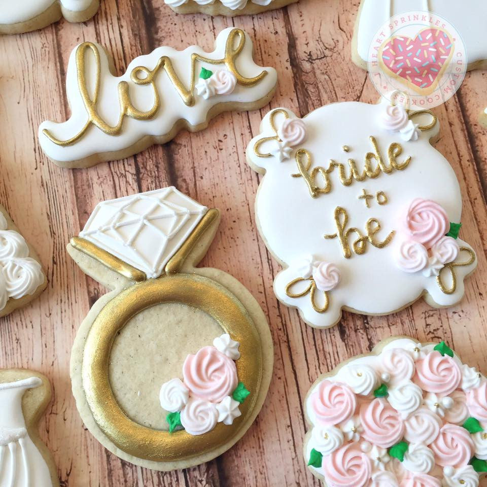 """Bride To Be"" Wedding Sugar Cookies TheIcedSugarCookie.com I Heart Sprinkles Cookies"