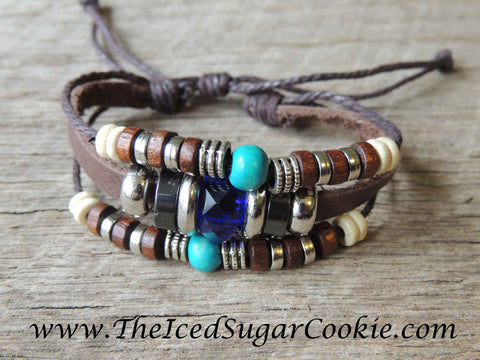 Boho Bracelets- Bohemian Bracelets Beaded Teal Faux Leather Bracelets by The Iced Sugar Cookie- Jewelry Fashion Style Tribal Hipster Tumblr