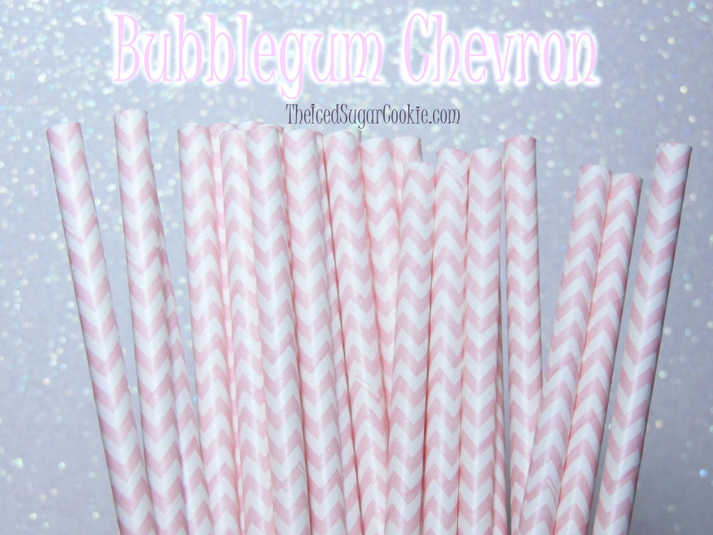 Bubblegum Pink Chevron Birthday Party Straws TheIcedSugarCookie.com