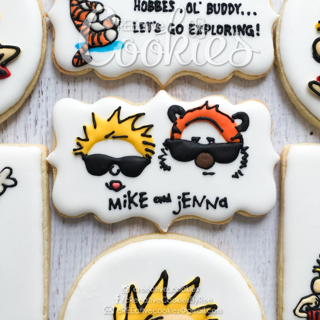 Calvin And Hobbes Birthday Party Sugar Cookies TheIcedSugarCookie.com CREEative Cookies By Ree