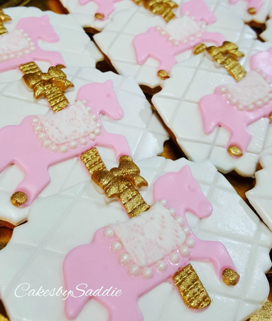 Pink And Gold Carousel Horse Birthday Party Sugar Cookies The Iced Sugar Cookie