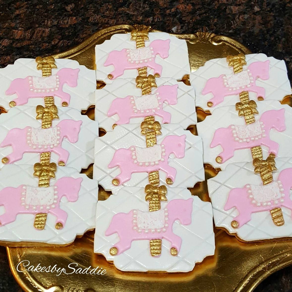 Pink And Gold Carousel Horse Birthday Party Sugar Cookies TheIcedSugarCookie.com Cakes By Saddie