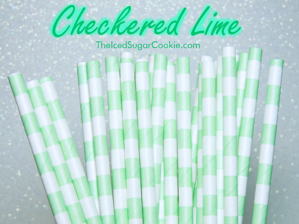 Checkered Lime Green Birthday Party Straws TheIcedSugarCookie.com