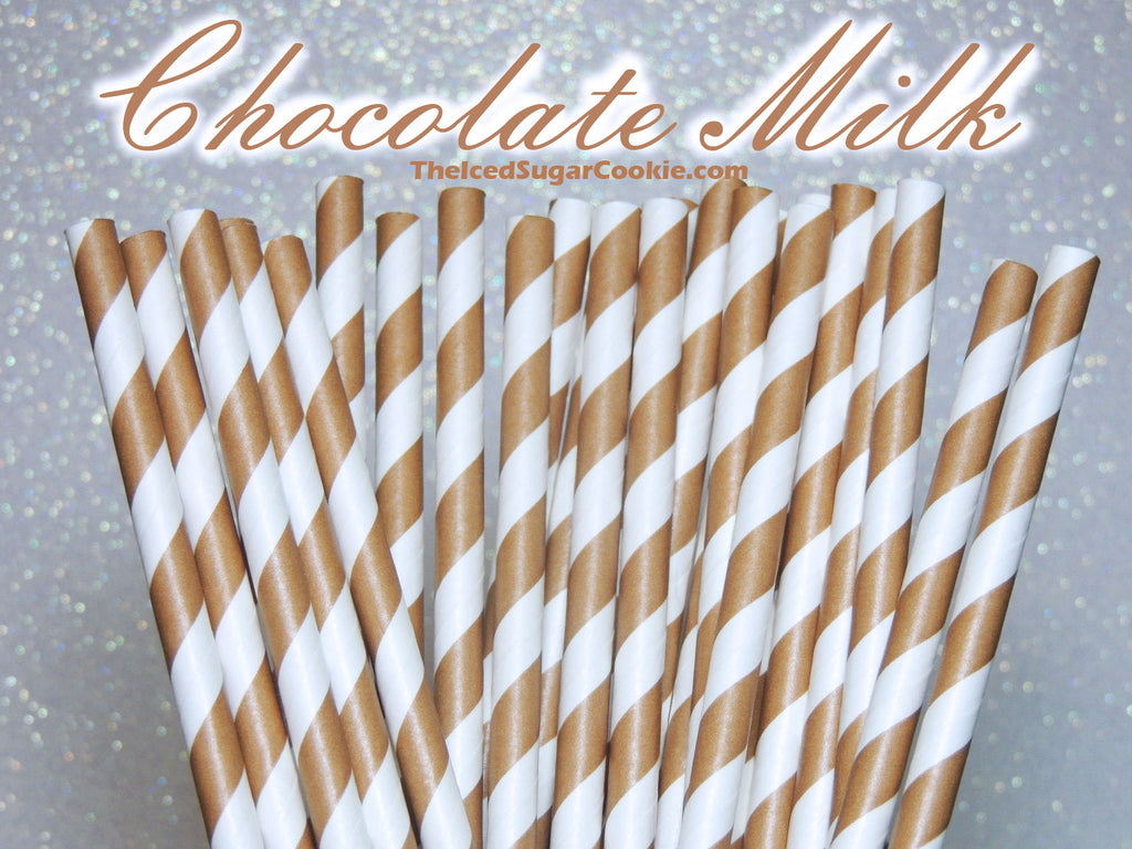 Chocolate Milk Birthday Party Straws TheIcedSugarCookie.com Brown And White Striped Paper Drinking Straws for Chocolate Milk Birthday Party