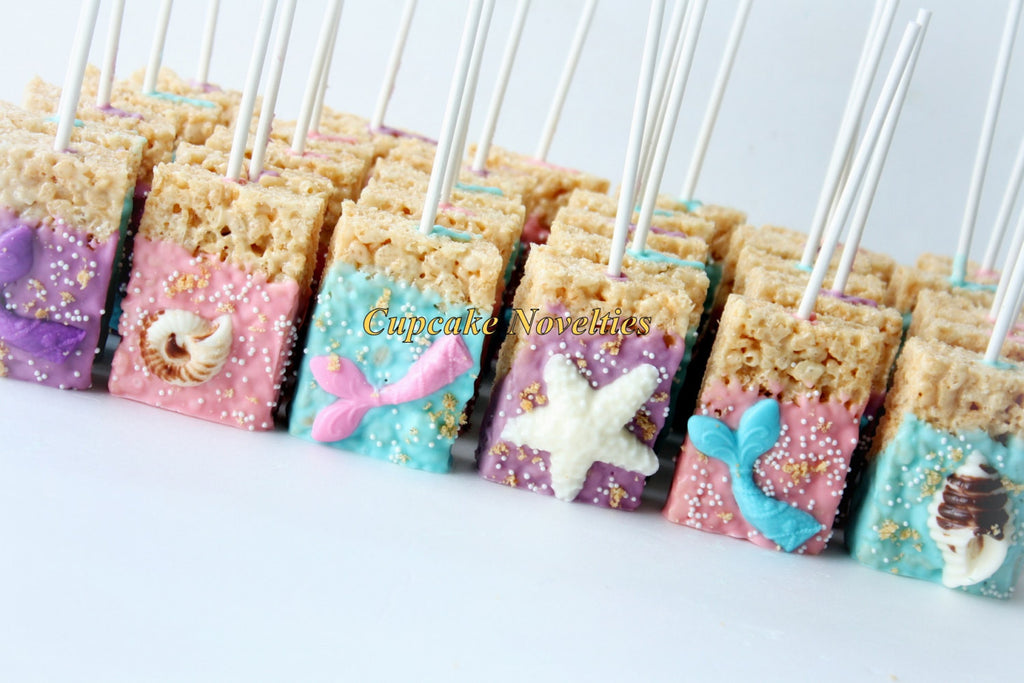 Mermaids Tails And Seashells Chocolate Dipped Rice Krispy Treats- Mermaid Under The Sea Birthday Party. TheIcedSugarCookie.com Cupcake Novelties