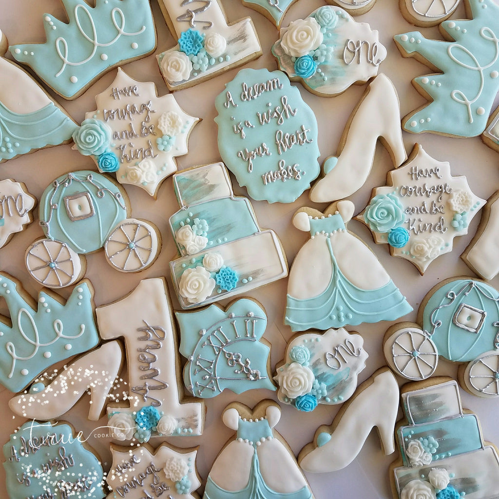 Cinderella 1st Birthday Party Sugar Cookies TheIcedSugarCookie.com True Cookie Co
