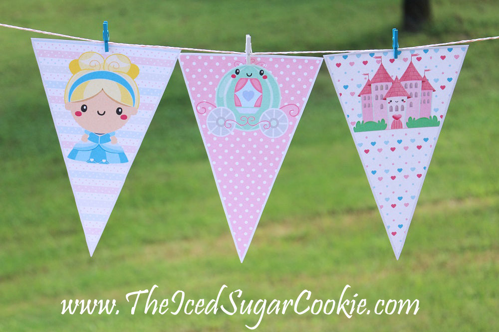 "If your're throwing a Cinderella Birthday Party then you will love these ""DIY Printable Cinderella Birthday Party Food Label Tent Cards"" that we created. This is a digital download that will come as a ZIP file.  What you will get in your ZIP file: 3 Flag Banners- JPEG Width 13.737 x 10.163 height  36 Food Tent Cards- JPEG 8.5 x 11 inches  6 Cupcake Toppers- JPEG 8.5 x 11 inches   What the food tent cards say: Cinderella Punch Carriages Gus Gus & Jaq Cheese Royal Ball Cookies Even Miracles Take A Little Time Pumpkin Carriage Dip Dreams Come True Glass Slippers Cinderella-(on 4 food cards) Cinderella Cakes Cinderella Cookies Take One Princess Food Cinderella Fruit Bowls Royal Snacks Mice Bars Castles Cinderella Sandwiches Cinderella Chips Mice Dip Cinderella Drinks Blank- 12 blank food cards to write or type your own words. Just open your JPEG in photoshop or a Paint to type.  For Personal Use Only. Do not sell these or offer them for free.  Graphics by TheHappyGraphics © www.TheHappyGraphics.Etsy.com"