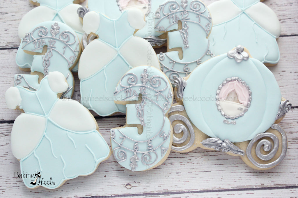 Cinderella Blue And Silver Birthday Party Sugar Cookies TheIcedSugarCookie.com Baking In Heels