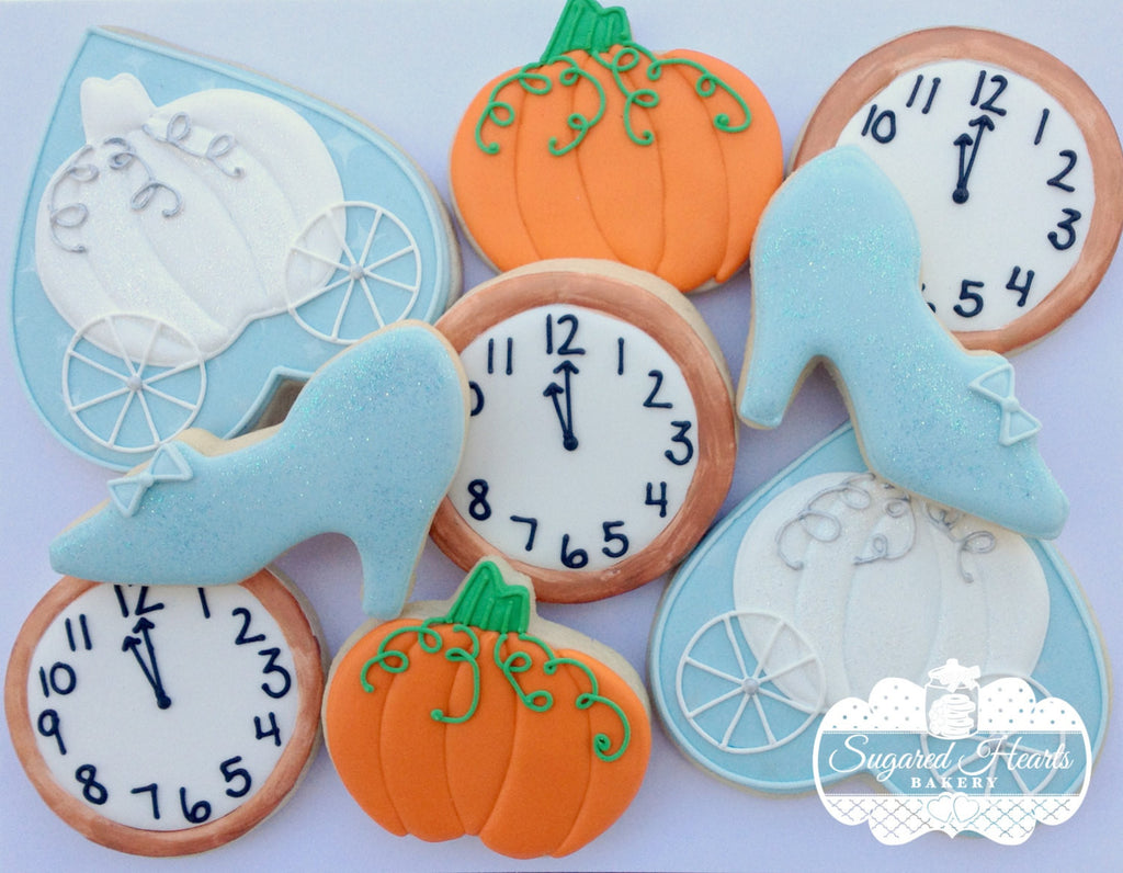 Cinderella Princess Birthday Party Sugar Cookies-Glass Slipper, Pumpkin Carriage, Pumpkin, Clock TheIcedSugarCookie.com Sugared Hearts Bakery