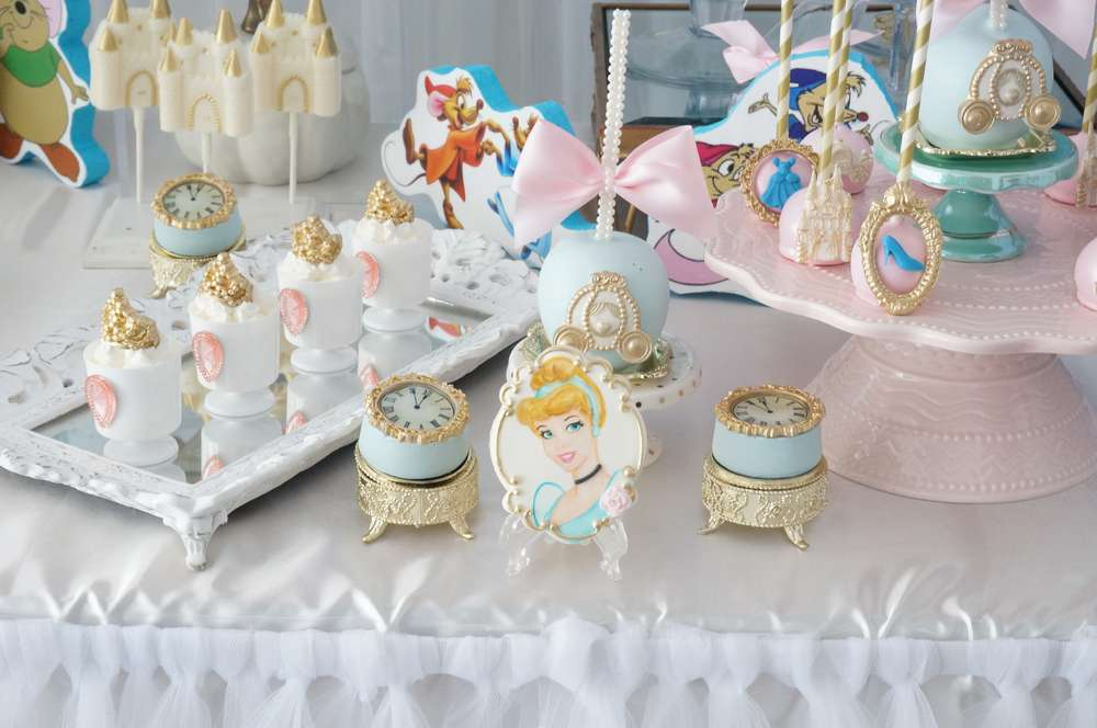 Cinderella Birthday Party Dessert Buffet Table TheIcedSugarCookie.com Events By Razan A Toi Events