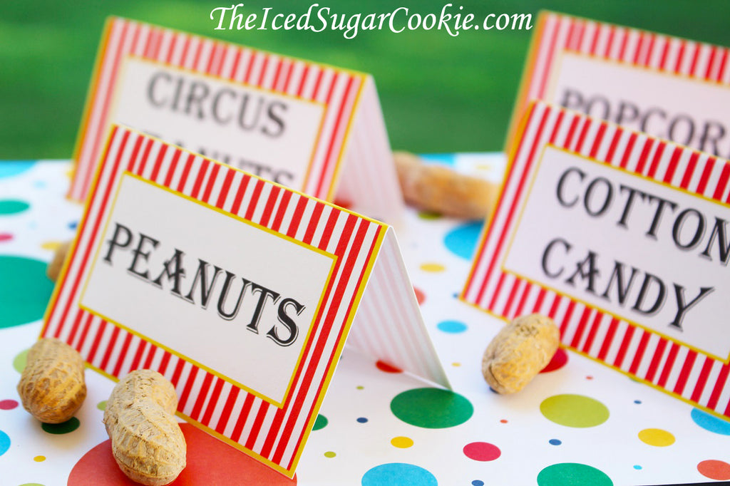 image regarding Printable Tent Cards named Printable Circus Food stuff Label Playing cards Electronic Obtain