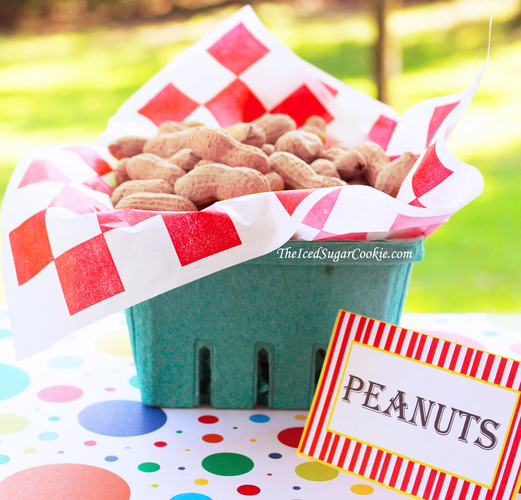 Circus Food Label Tent Cards Birthday Party Printables DIY Digital Download The Iced Sugar Cookie-Peanuts, Circus Peanuts, Cotton Candy, Popcorn