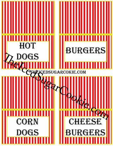 Circus Food Label Tent Cards Birthday Party Printables DIY Digital Download The Iced Sugar Cookie-Hot Dogs, Burgers, Corn Dogs, Cheese Burgers