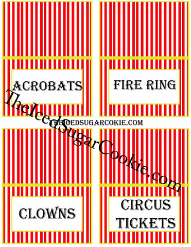 Circus Food Label Tent Cards Birthday Party Printables DIY Digital Download The Iced Sugar Cookie-Acrobats, Fire Ring, Clowns, Circus Tickets
