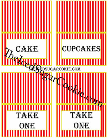 Circus Food Label Tent Cards Birthday Party Printables DIY Digital Download The Iced Sugar Cookie-Cake, Cupcakes, Take One, Take One