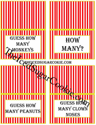 Circus Food Label Tent Cards Birthday Party Printables DIY Digital Download The Iced Sugar Cookie-Guess How Many Monkeys?, How Many?, Guess How Many Peanuts, Guess How Many Clown Noses