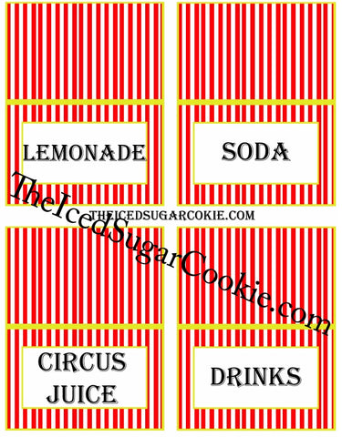 Circus Food Label Tent Cards Birthday Party Printables DIY Digital Download The Iced Sugar Cookie-Lemonade, Soda, Circus Juice, Drinks