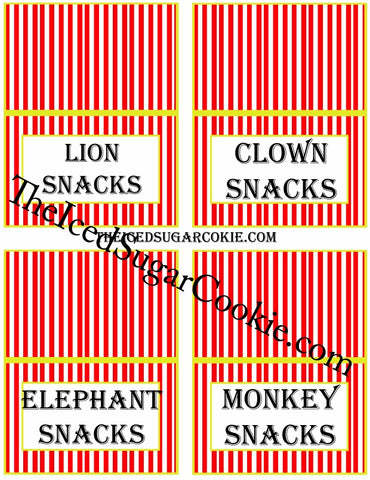 Circus Food Label Tent Cards Birthday Party Printables DIY Digital Download The Iced Sugar Cookie- Lion Snacks, Clown Snacks, Elephant Snacks, Monkey Snacks