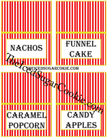 Circus Food Label Tent Cards Birthday Party Printables DIY Digital Download The Iced Sugar Cookie-Nachos, Funnel Cake, Caramel Popcorn, Candy Apples