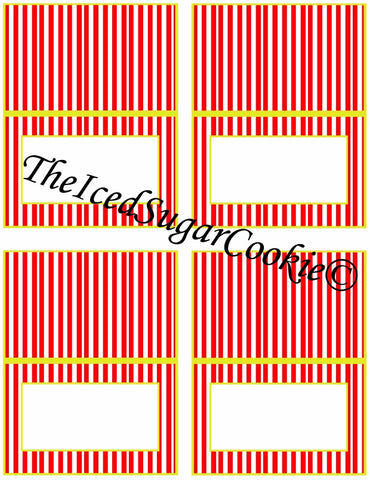Circus Food Label Tent Cards Birthday Party Printables DIY Digital Download The Iced Sugar Cookie-Blanks Cards to write or type your own words.
