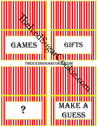 Circus Food Label Tent Cards Birthday Party Printables DIY Digital Download The Iced Sugar Cookie-Games, Gifts, Question Mark Symbol, Make A Guess