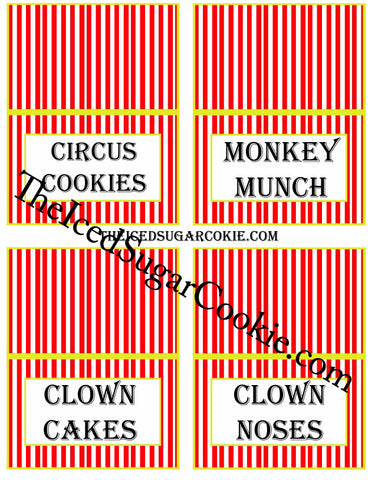 Circus Food Label Tent Cards Birthday Party Printables DIY Digital Download The Iced Sugar Cookie-Circus Cookies, Monkey Munch, Clown Cakes, Clown Noses
