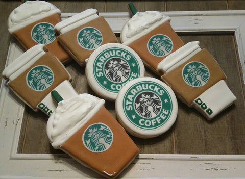 Coffee Latte Frappuccino Starbucks Birthday Party Sugar Cookies TheIcedSugarCookie.com Creative Cookie Corner