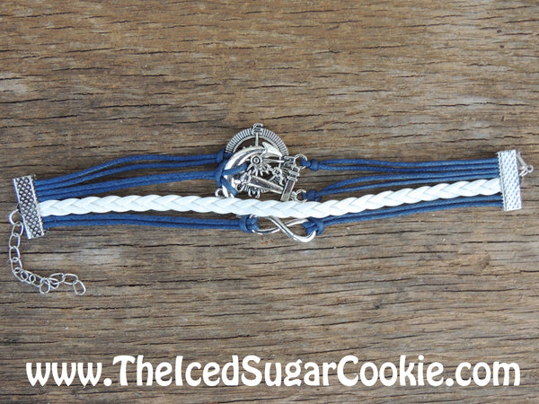 Compass Anchor Bracelet Blue White Faux Leather Bracelet by The Iced Sugar Cookie Photo By Nathan Duncan Photo Model Paula