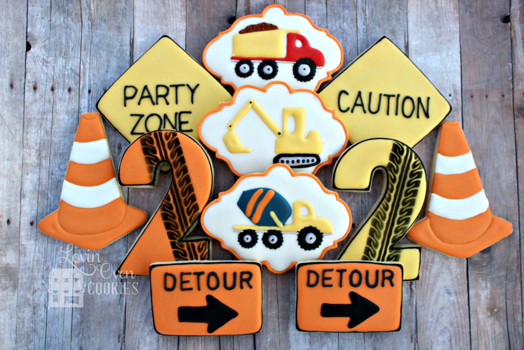 Construction Birthday Party Sugar Cookies TheIcedSugarCookie.com Lovin Oven Cookies
