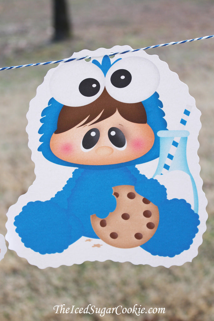 Baby Cookie Monster Sesame Street Birthday Party Banner Milk