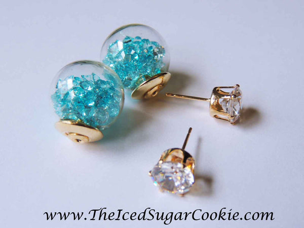 Blue Crystal Filled Ball Earrings By The Iced Sugar Cookie- Fashion Jewelry