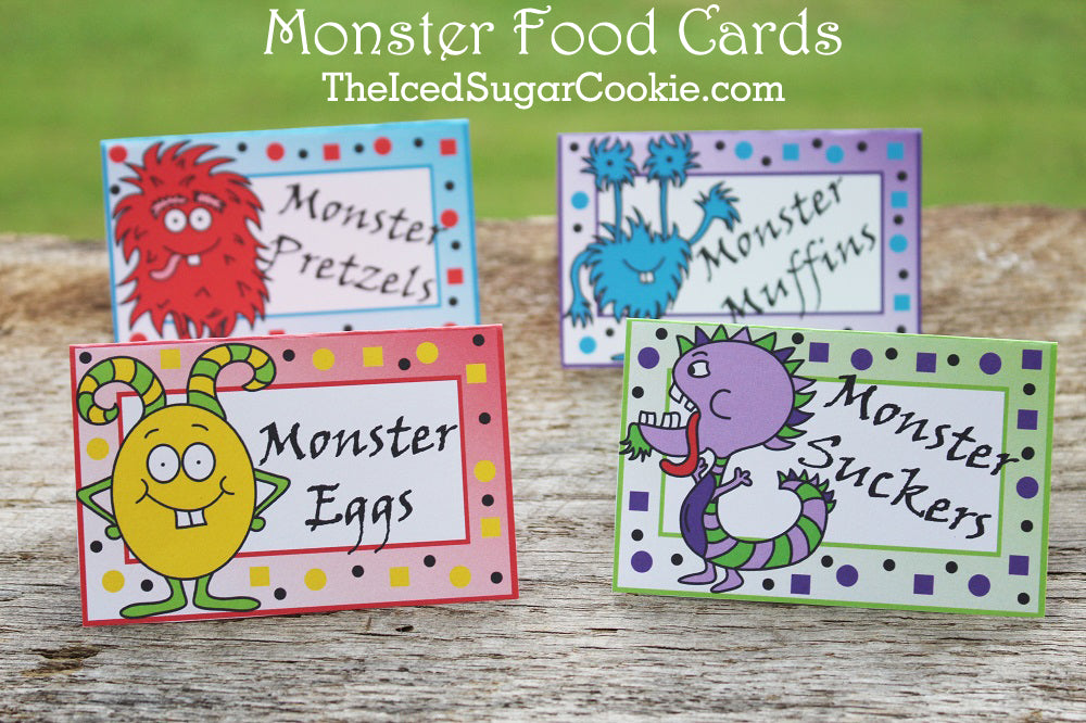Monster Food Tent Label Cards DIY Monster Bash Birthday Party Ideas Templates Cutouts Printables Digital Download by The Iced Sugar Cookie