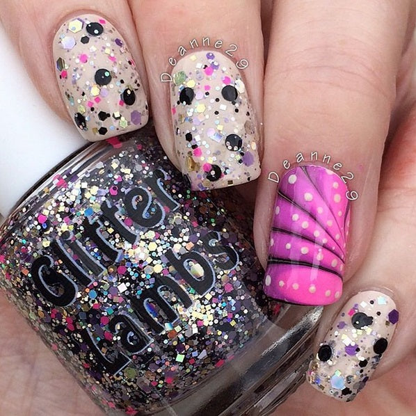 "Glitter Lambs ""Glitter Airbrushed"" nail polish. www.TheIcedSugarCookie.com Handmade custom nail polishes for your nails. #nails"