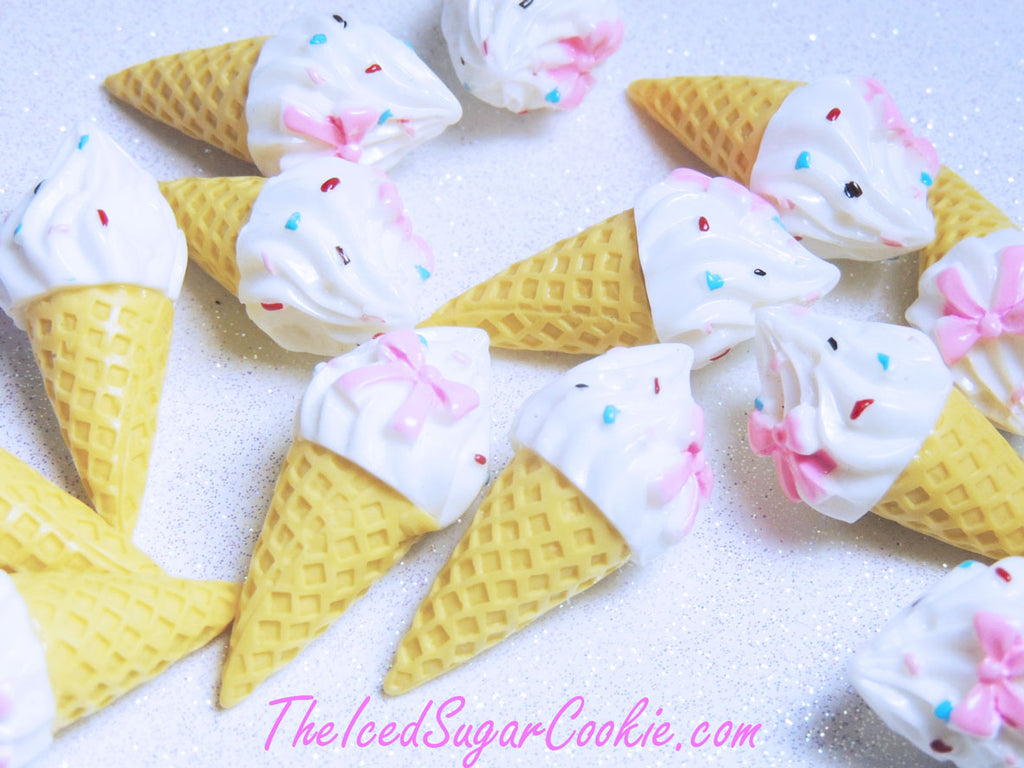 Kawaii Cabochons Ice Cream Cones Doll House Supplies Crafts DIY Decoden Dessert