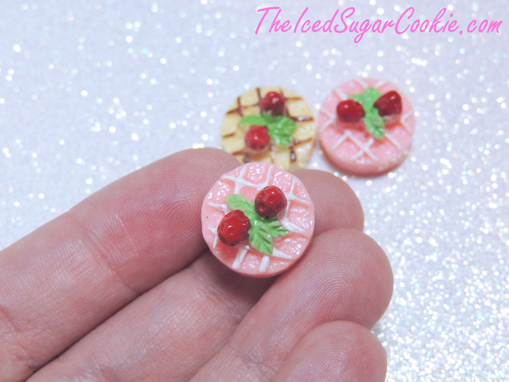 Kawaii Cabochons Strawberry Tarts Pies Decoden Supplies Miniatures DIY Crafts-TheIcedSugarCookie.com