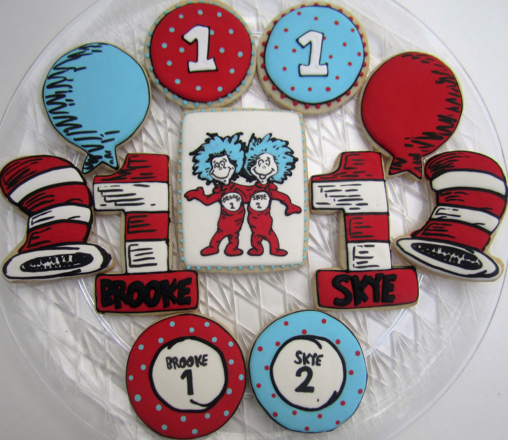 Dr. Seuss Cat In The Hat 1st Birthday Party Sugar Cookies-Thing One And Thing Two TheIcedSugarCookie.com Finger Hut Cakes