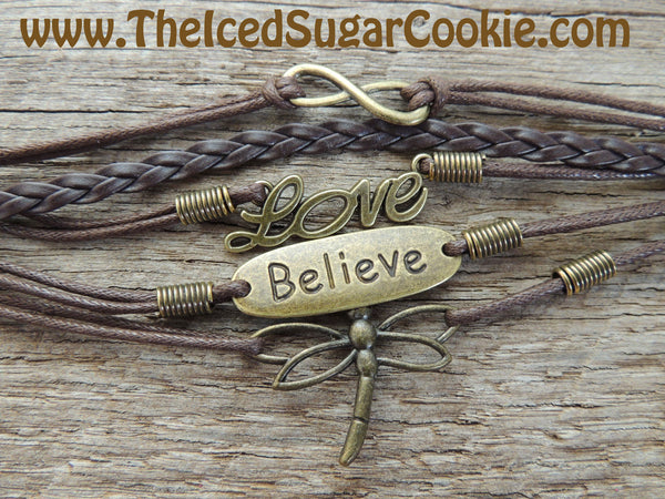 Dragonfly Love Believe Brown Faux Leather Bracelet By The Iced Sugar Cookie- Fashion Jewelry