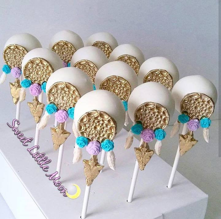 Bohemian Birthday Party-Dream Catcher Cake Pops And Teepee Rice Krispy Treats TheIcedSugarCookie.com Sweet Little Moon