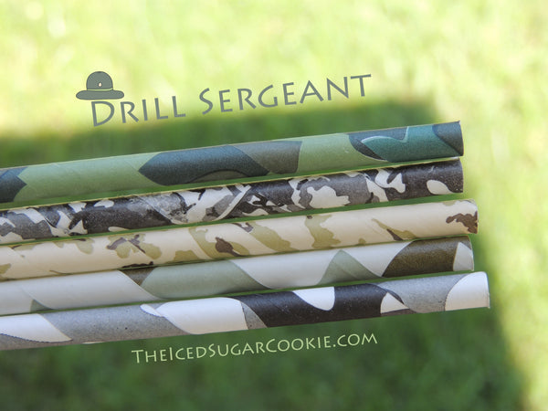 Drill Sergeant Army Paper Straws Military Navy Seals Birthday Party Ideas Supplies DIY Camo Camouflage by The Iced Sugar Cookie