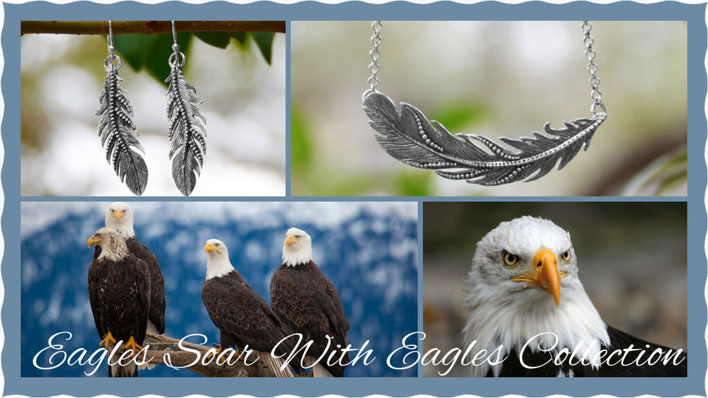 Eagles Soar With Eagles Jewelry Collection By The Iced Sugar Cookie- Feather Earrings Necklace, Rings, Earrings, Bracelet