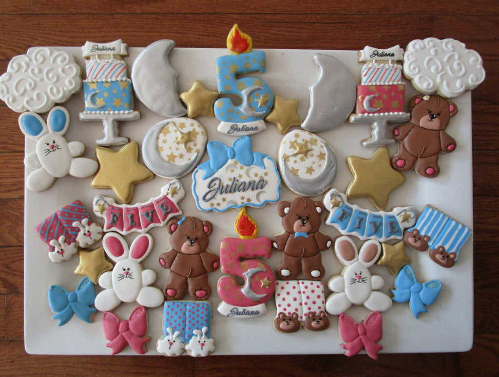 Stars, Moons, Teddy Bears and Bunnies Pajama Party Sugar Cookies TheIcedSugarCookie.com Ecinue Creations