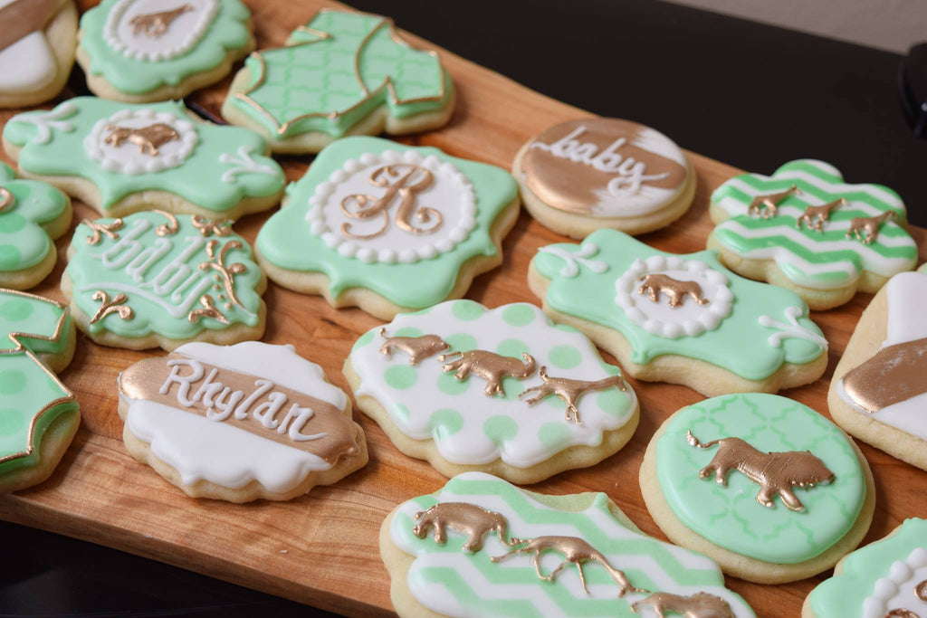 Baby Shower Cookie Images ~ Gold safari animals baby shower sugar cookies u the iced sugar cookie