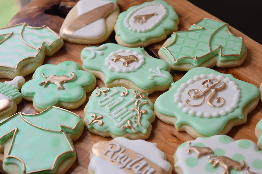 Gold Safari Animals Baby Shower Sugar Cookies TheIcedSugarCookie.com The Bearded Baker